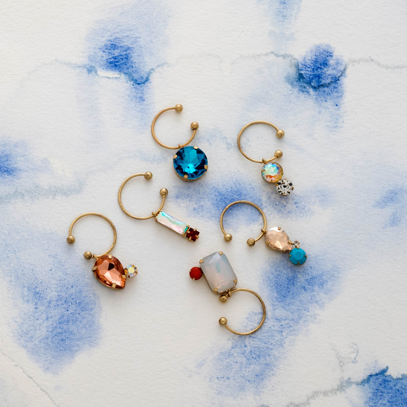 Jeweled wine charms, pastels