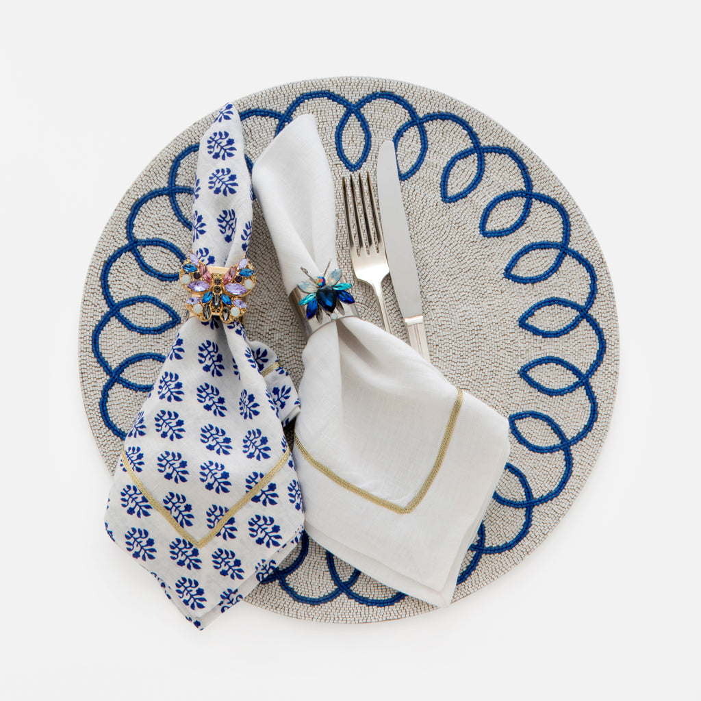 Chinoiserie placemat, blue