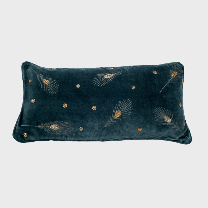 Embroidered feather pillow, dark grey cotton velvet