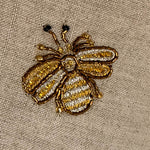 Embroidered bee fringe pillow, natural linen