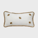 Embroidered bee fringe pillow, white linen
