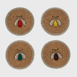 Sparkle bee coasters, set of four