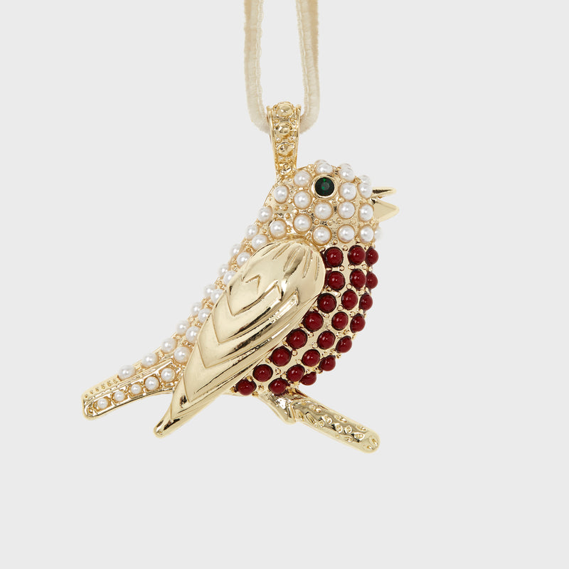 Robin hanging ornament, pearl