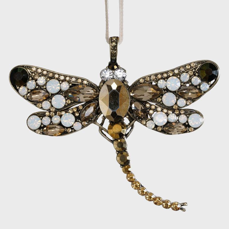 Dragonfly hanging ornament, gold
