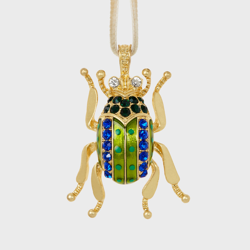 Enamel beetle hanging ornament, bright