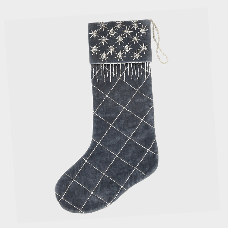 Quilted star stocking, grey