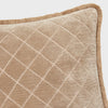Quilted velvet fringe pillow, taupe