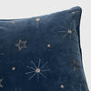 Embroidered celestial pillow, dark grey cotton velvet