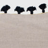 Mini tassel pillow, natural linen/black