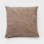 Embroidered palm frond pillow, taupe cotton velvet