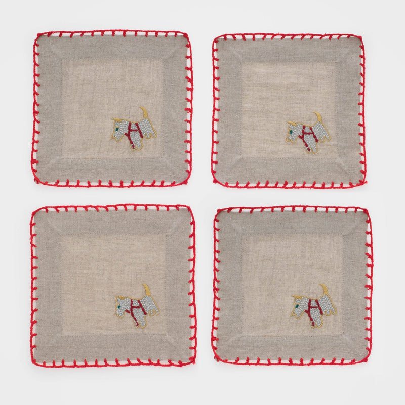 Scottie dog cocktail napkins, set of four