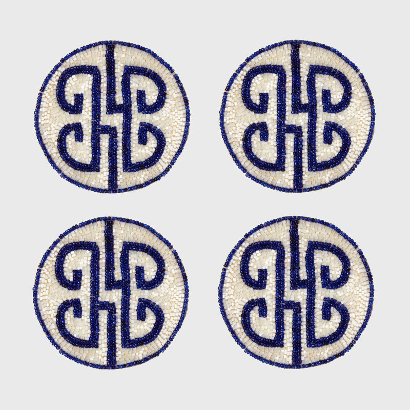 Chinoiserie coaster, cobalt, set of four