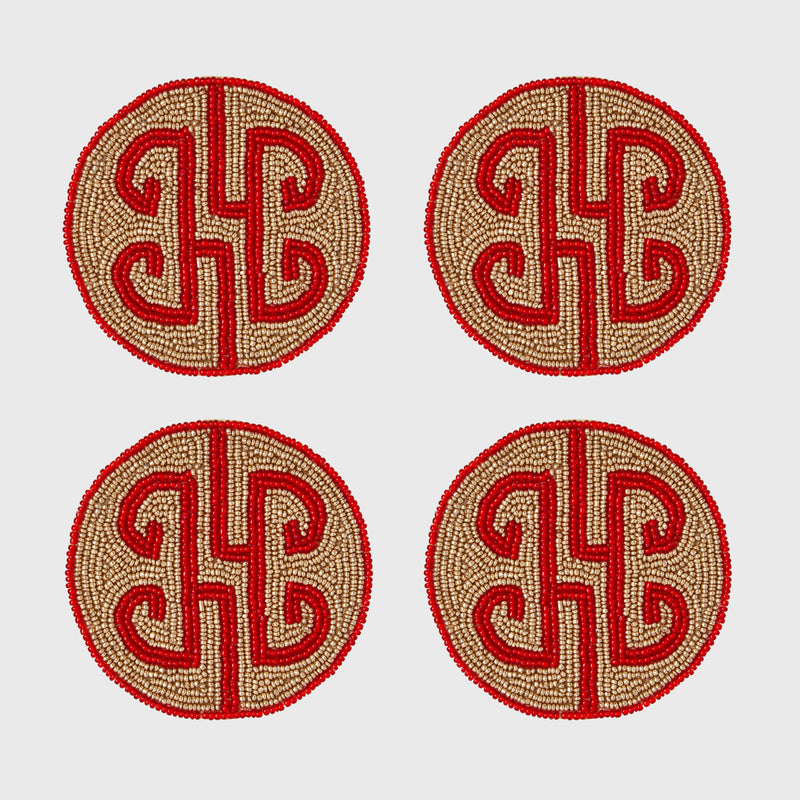 Chinoiserie coaster, ruby, set of four