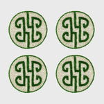 Chinoiserie coaster, emerald, set of four