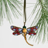 Dragonfly hanging ornament, ruby and amethyst