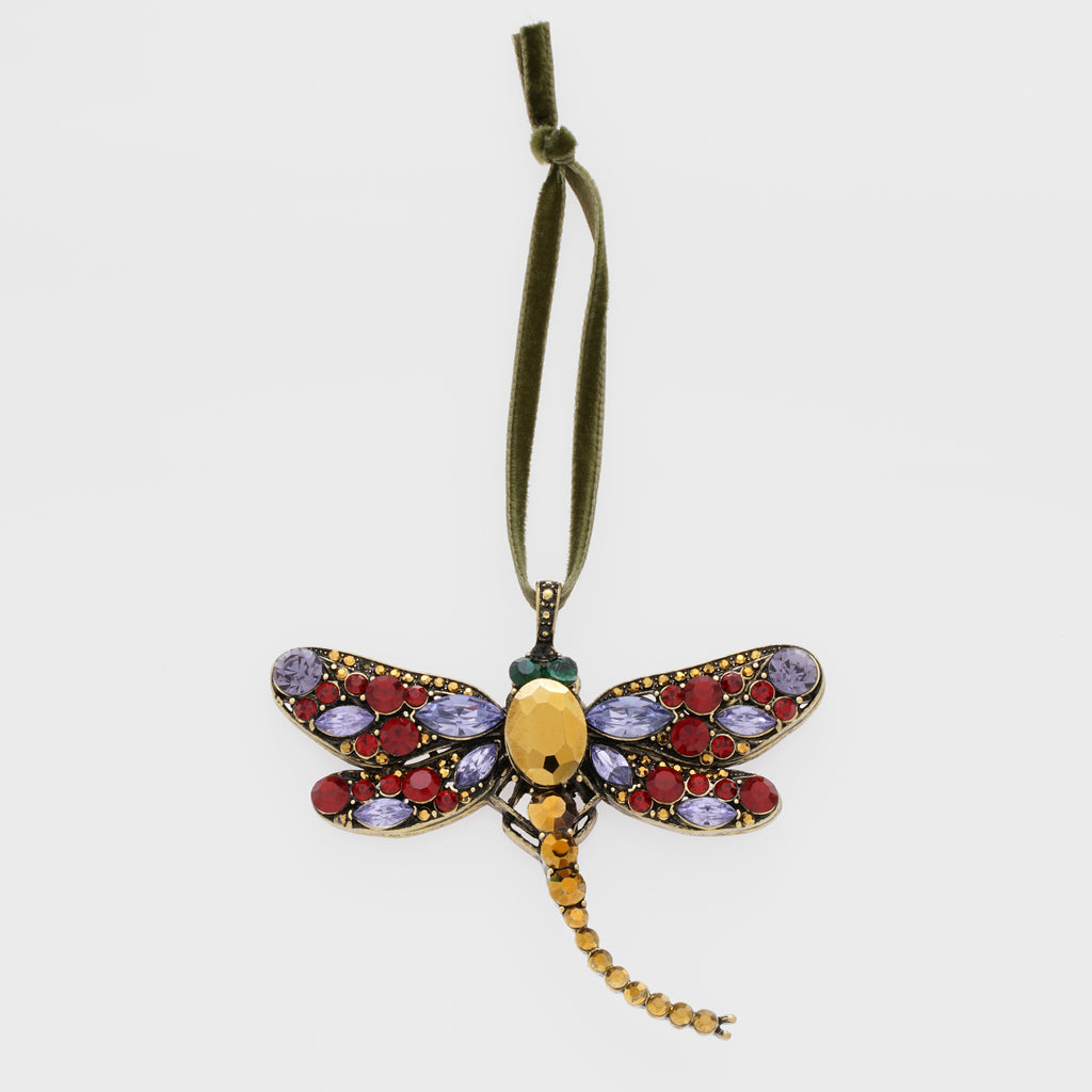 Hanging dragonfly ornament, ruby and amethyst