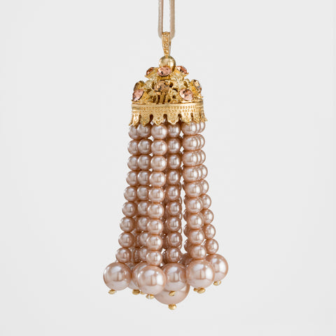 Pearl and velvet ball ornament, black