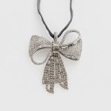 Sparkle bow ornament, silver
