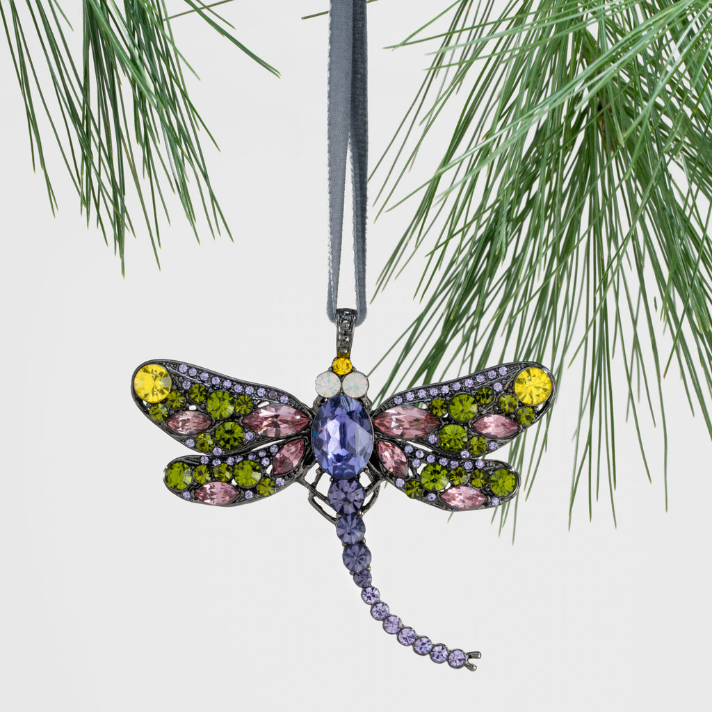 Dragonfly hanging ornament, rose and olive