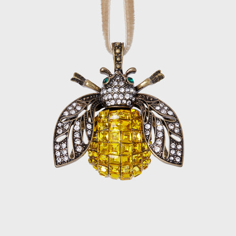 Sparkle bee hanging ornament, topaz
