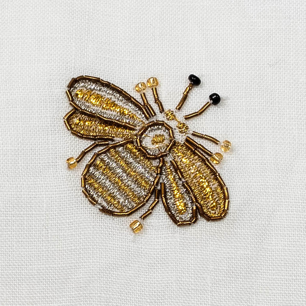 Embroidered bee fringe pillow, white