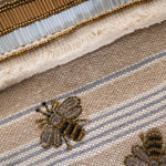 Stripey bee pouch, flax