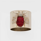 Sparkle bee napkin rings, ruby, set of two