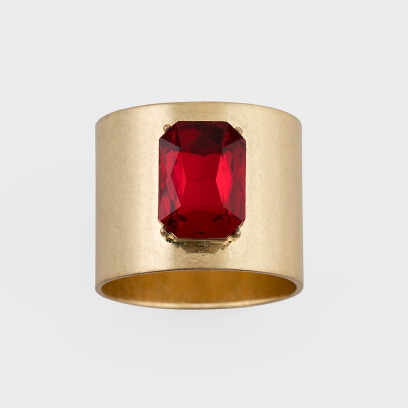 Single gem napkin rings, ruby red, set of two