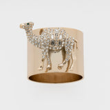 Camel napkin rings, crystal, set of two