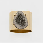 Druzy napkin rings, gold with gun metal, set of two