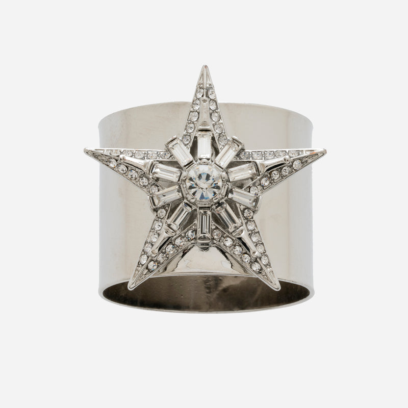 Baguette star napkin rings, silver, set of two