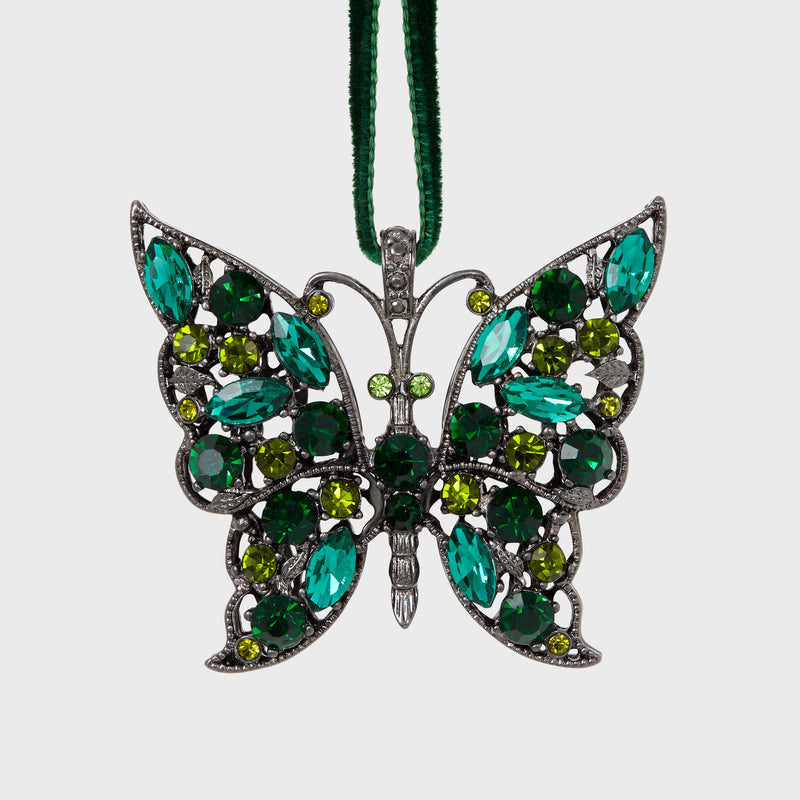 Butterfly hanging ornament, emerald
