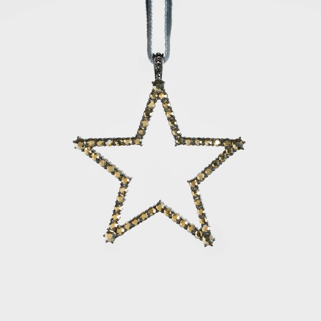 Star hanging ornament, hematite/gold