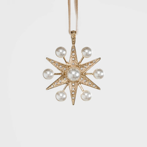 Deco snowflake hanging ornament, gold