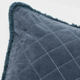 Quilted velvet fringe pillow, dark grey