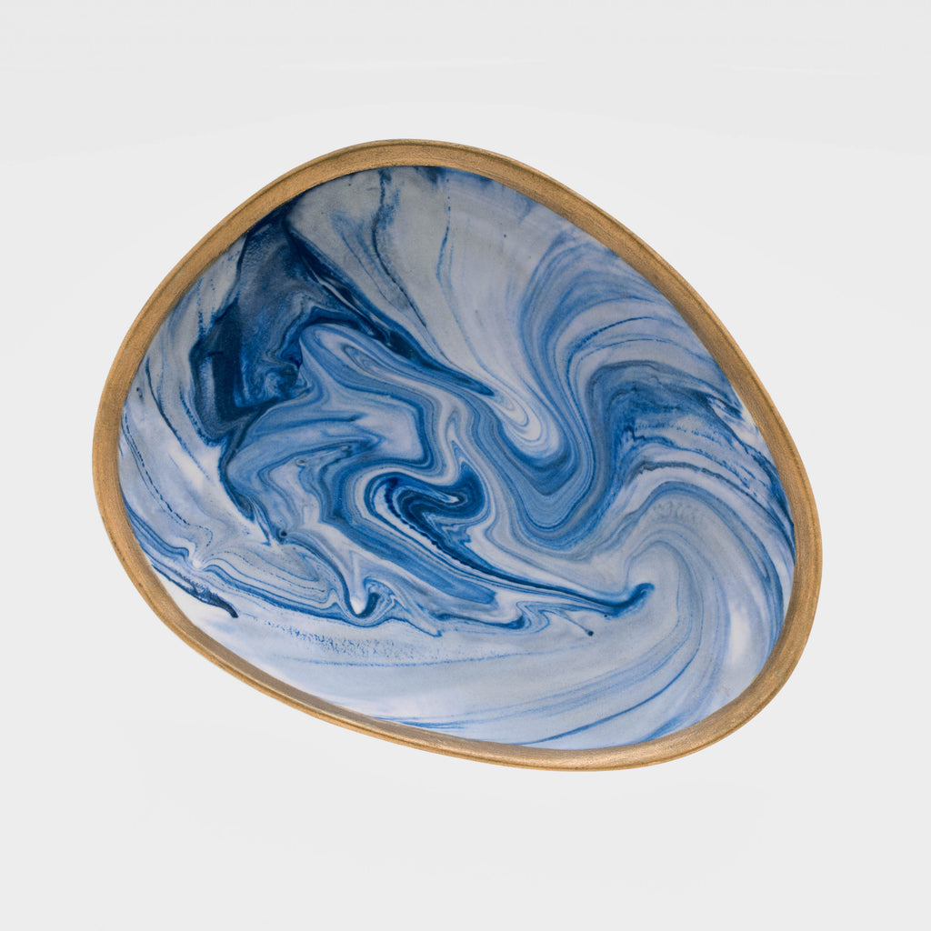 Marbleized porcelain ring dish, blue