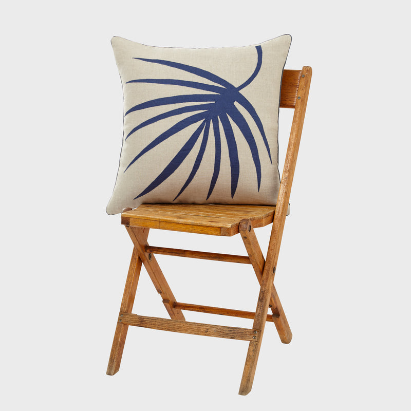 Palm frond pillow, natural linen with indigo