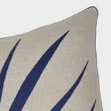 Palm frond pillow, natural linen/indigo