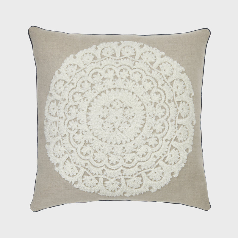 Embroidered oversize pillow, natural linen with cream