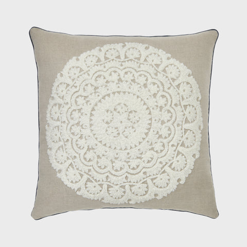 Mini tassel pillow, natural/multi