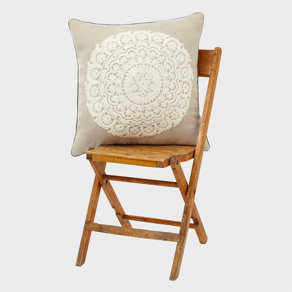Embroidered oversize pillow, flax/cream