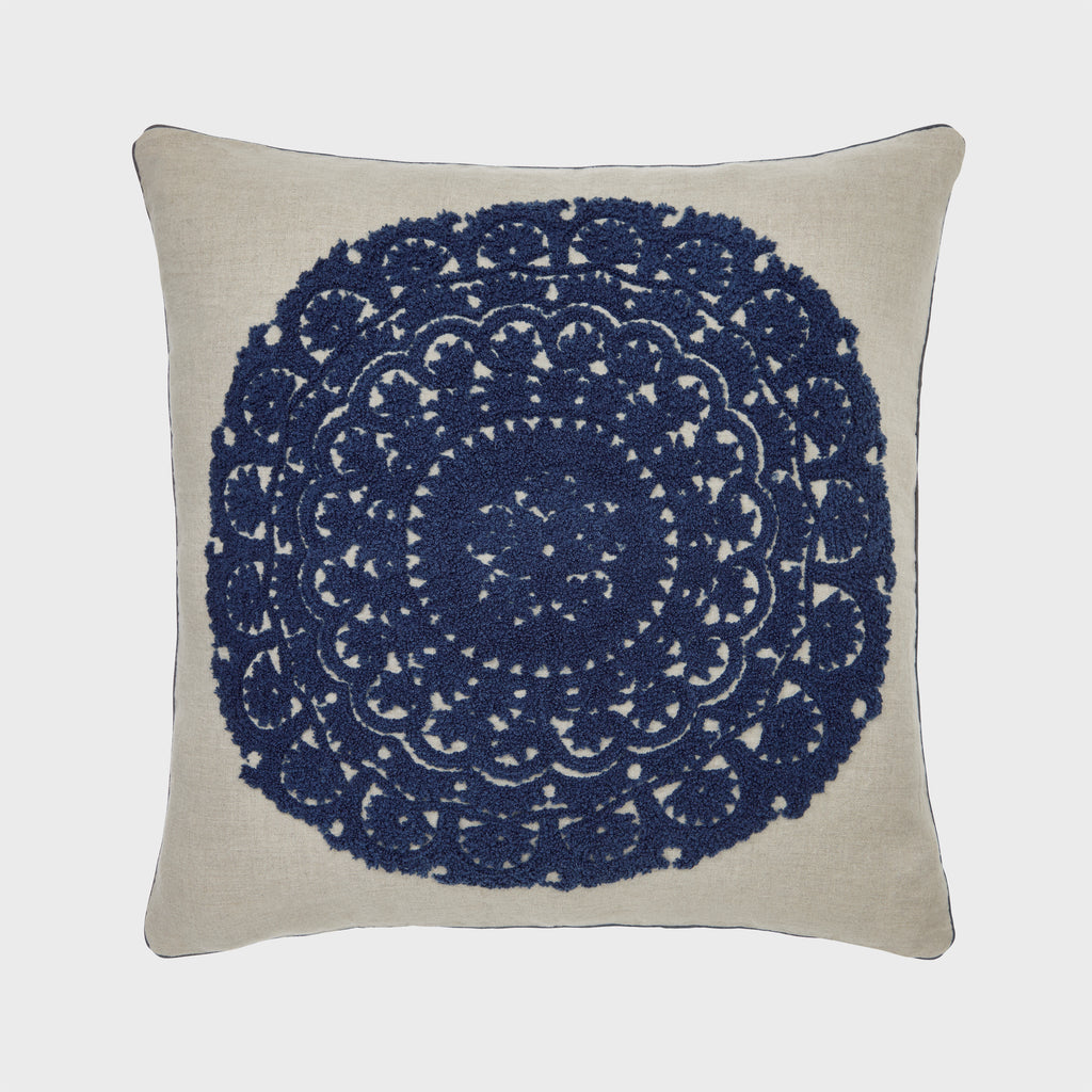Embroidered oversize pillow, natural linen/ indigo