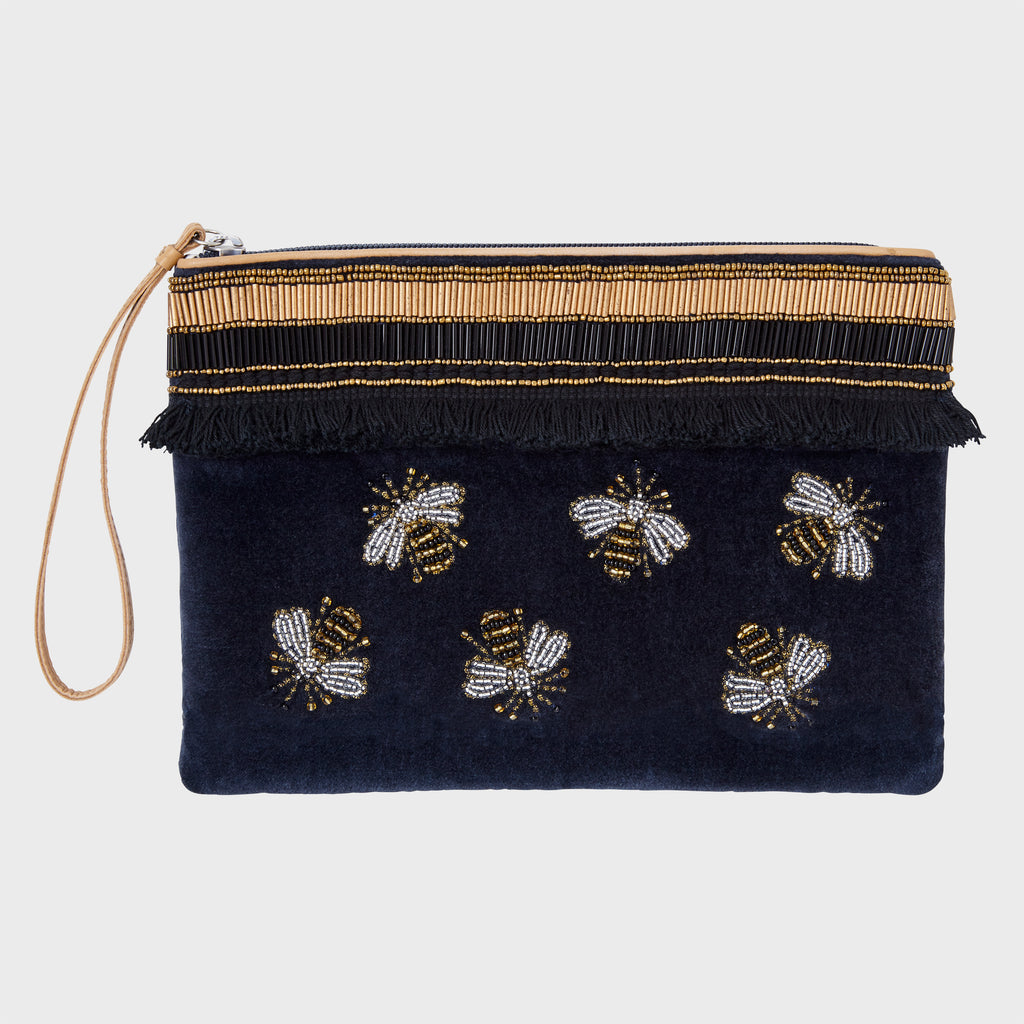 Stripey bee pouch, navy velvet