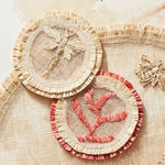 Coral straw coaster, set of four
