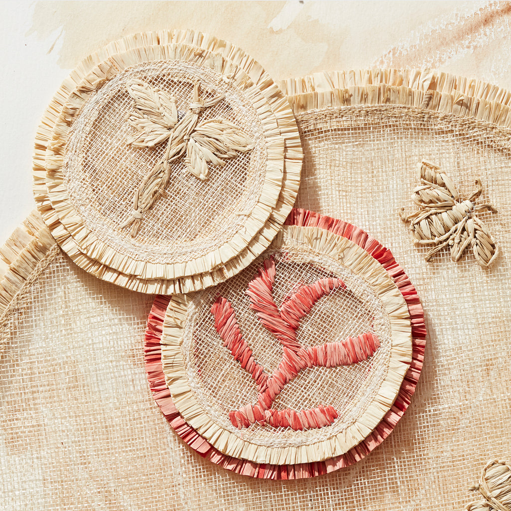 Dragonfly straw coasters, set of four