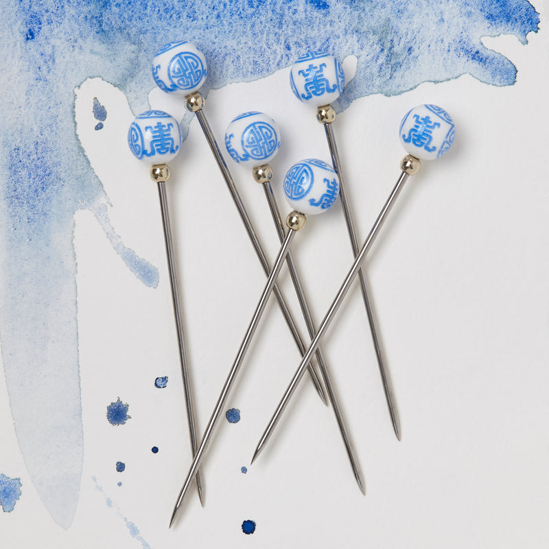 Chinoiserie cocktail picks, periwinkle