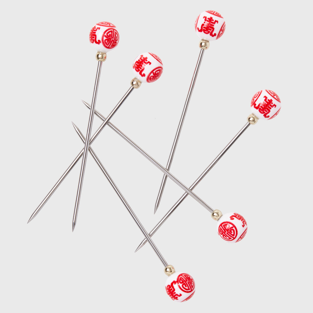 Chinoiserie cocktail picks, red
