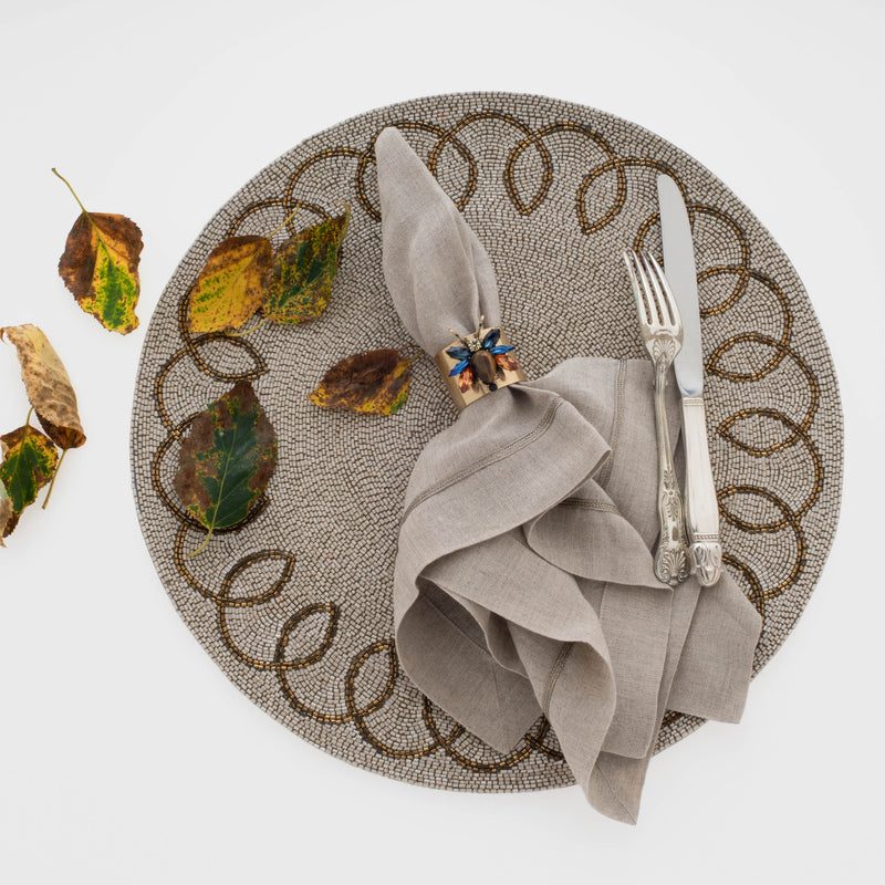 Chinoiserie placemat, taupe