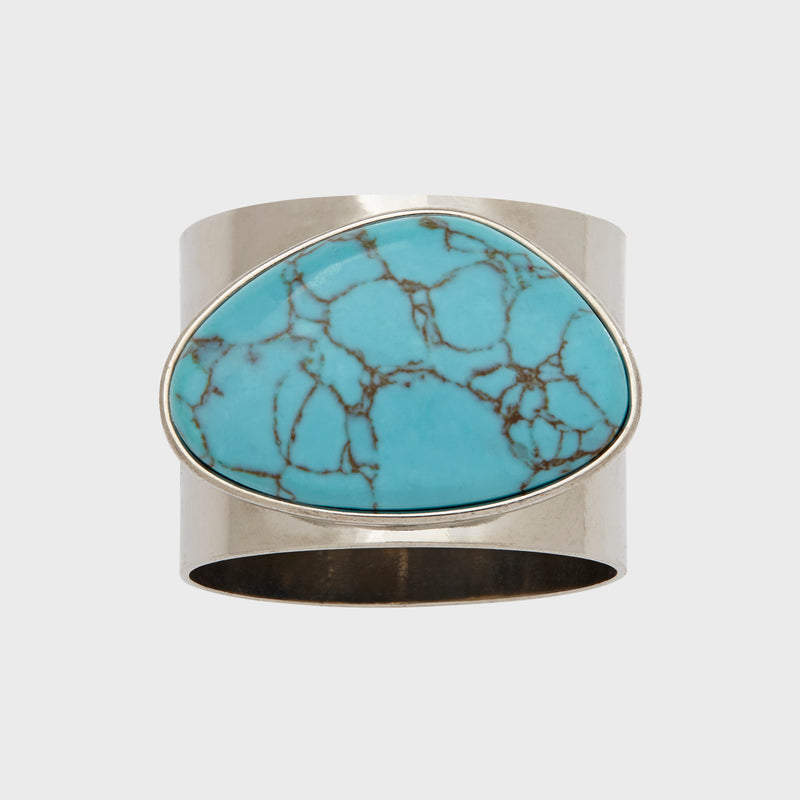 Gilt edge shell napkin ring, turquoise, set of two