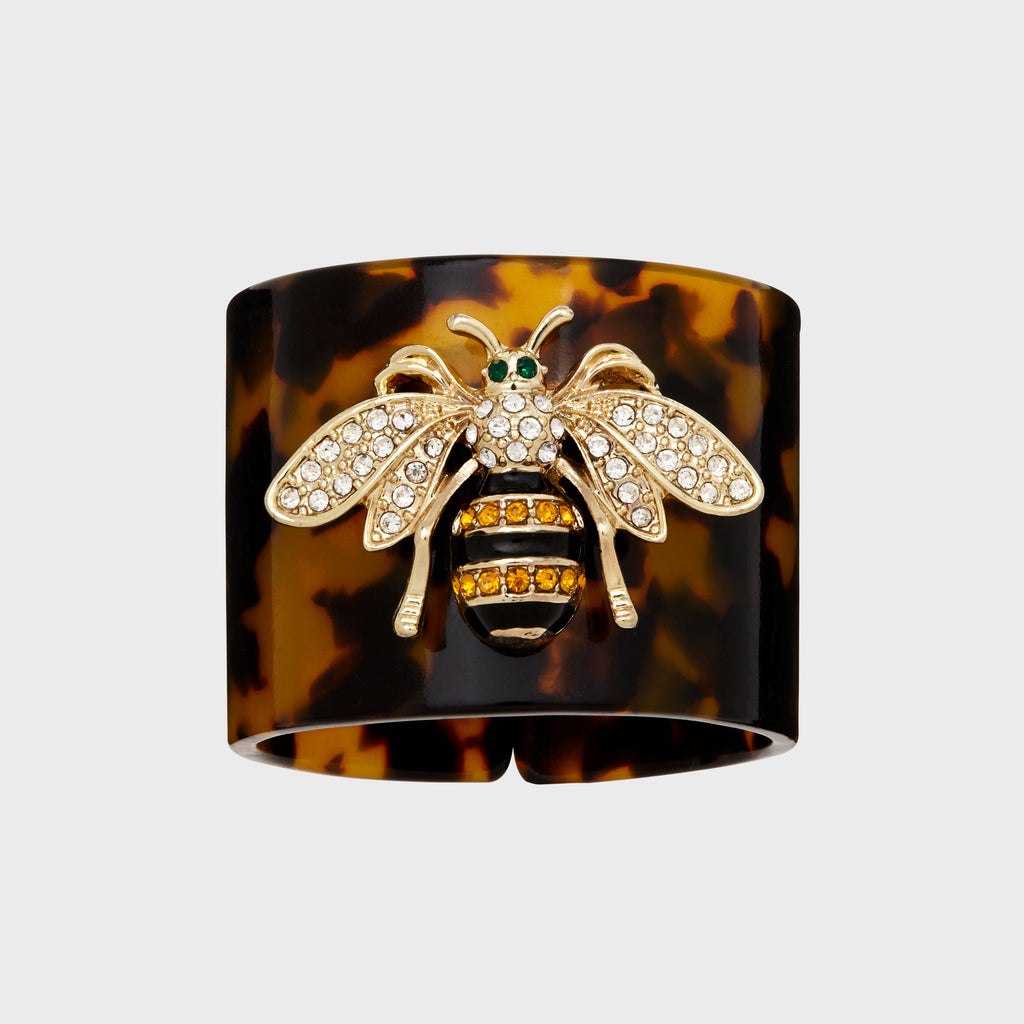 Stripey bee resin napkin rings, tortoiseshell, set of four